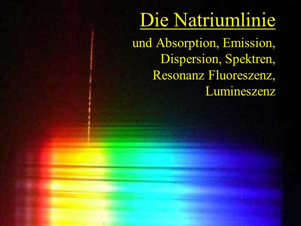 Die Natriumlinie und Absorption, Emission, Dispersion, Spektren, Resonanz Fluoreszenz, Lumineszenz
