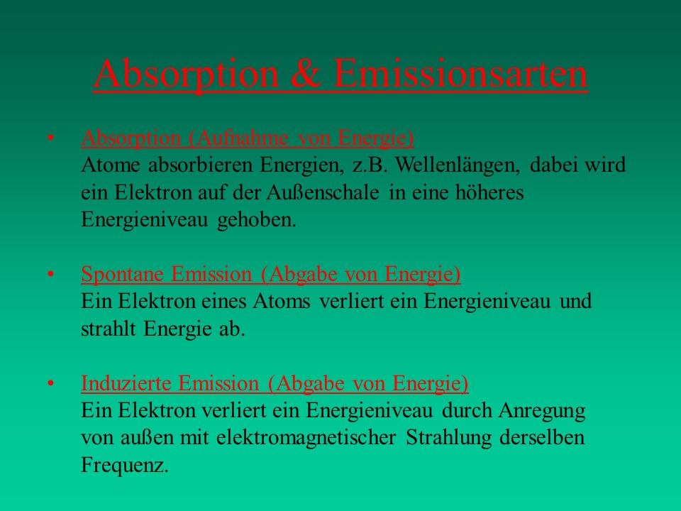 Absorption & Emissionsarten