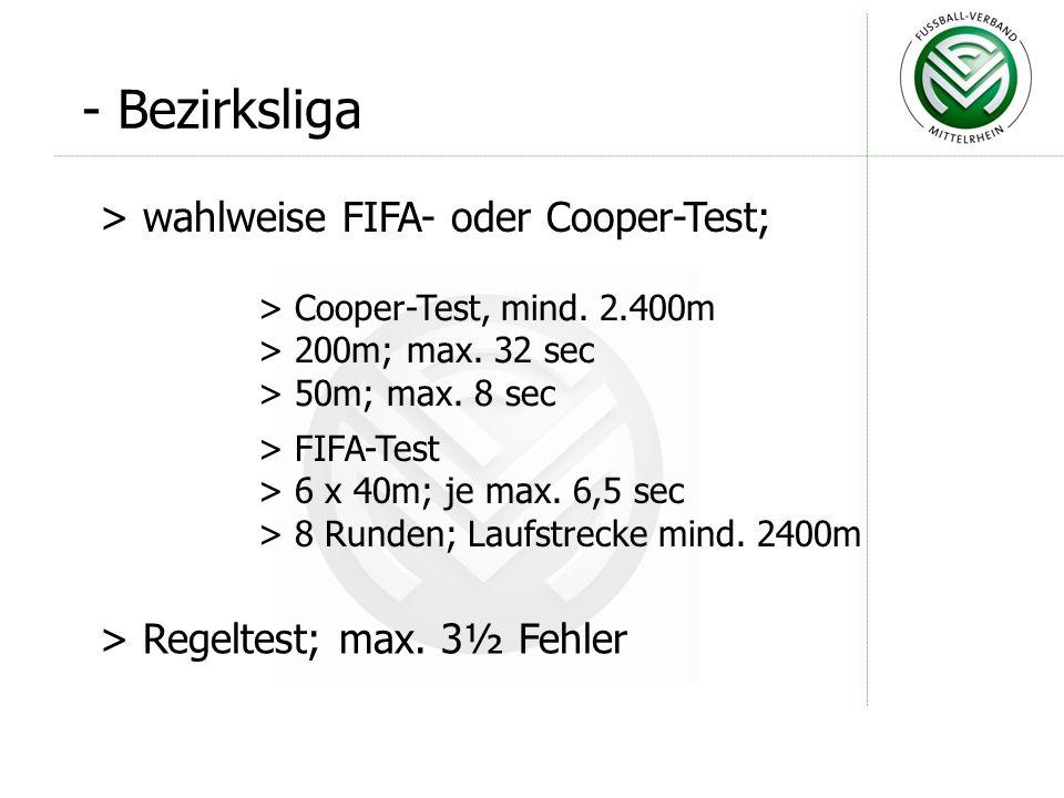 - Bezirksliga wahlweise FIFA- oder Cooper-Test;