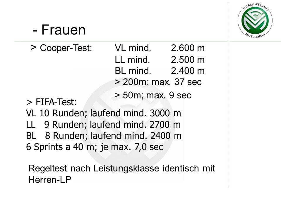 - Frauen Cooper-Test: VL mind. 2.600 m LL mind. 2.500 m