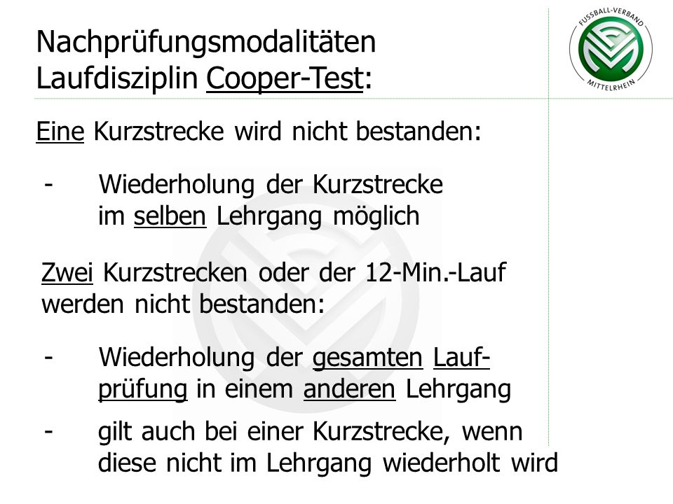 Nachprüfungsmodalitäten Laufdisziplin Cooper-Test:
