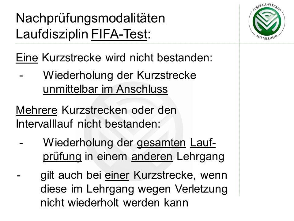 Nachprüfungsmodalitäten Laufdisziplin FIFA-Test: