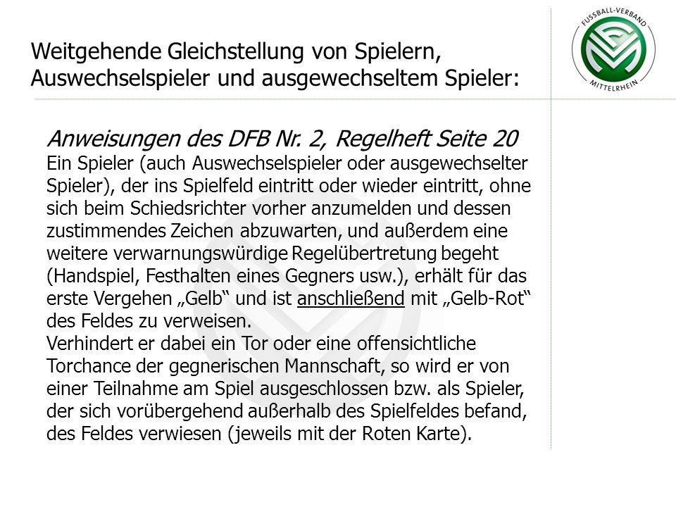 Anweisungen des DFB Nr. 2, Regelheft Seite 20