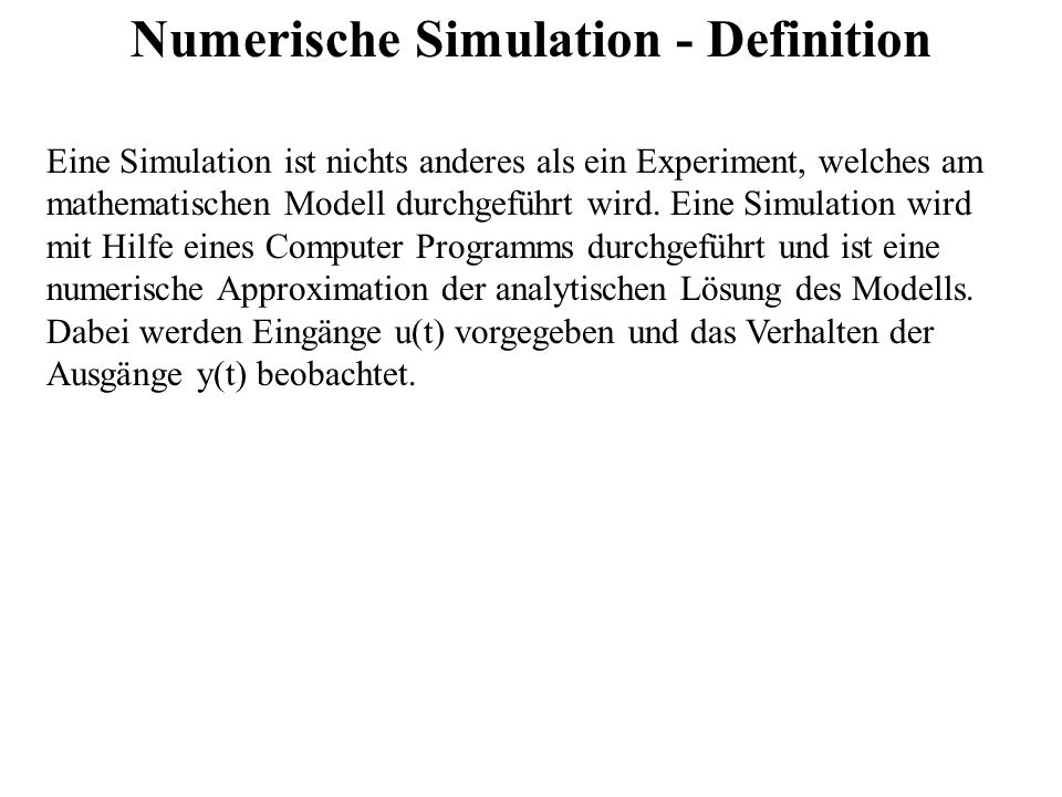 Numerische Simulation - Definition