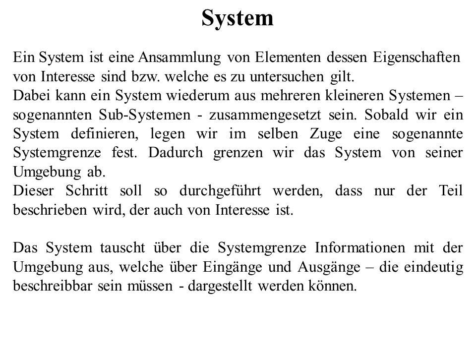System Ein System ist eine Ansammlung von Elementen dessen Eigenschaften von Interesse sind bzw. welche es zu untersuchen gilt.