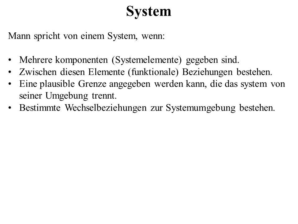 System Mann spricht von einem System, wenn: