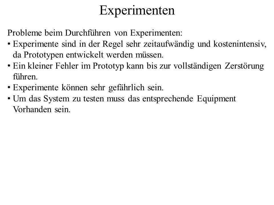 Experimenten Probleme beim Durchführen von Experimenten: