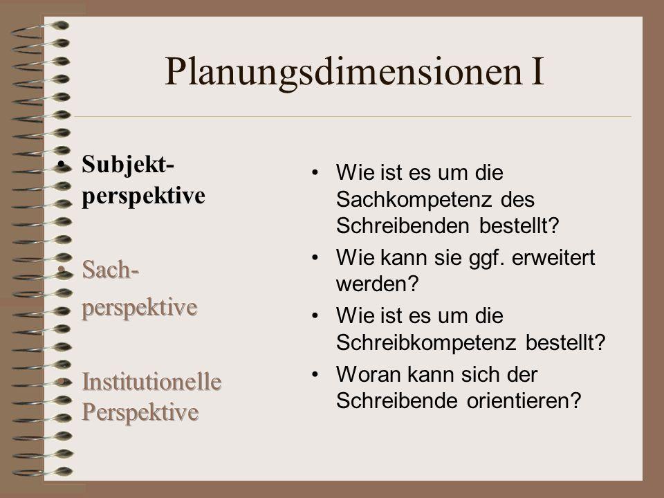 Planungsdimensionen I