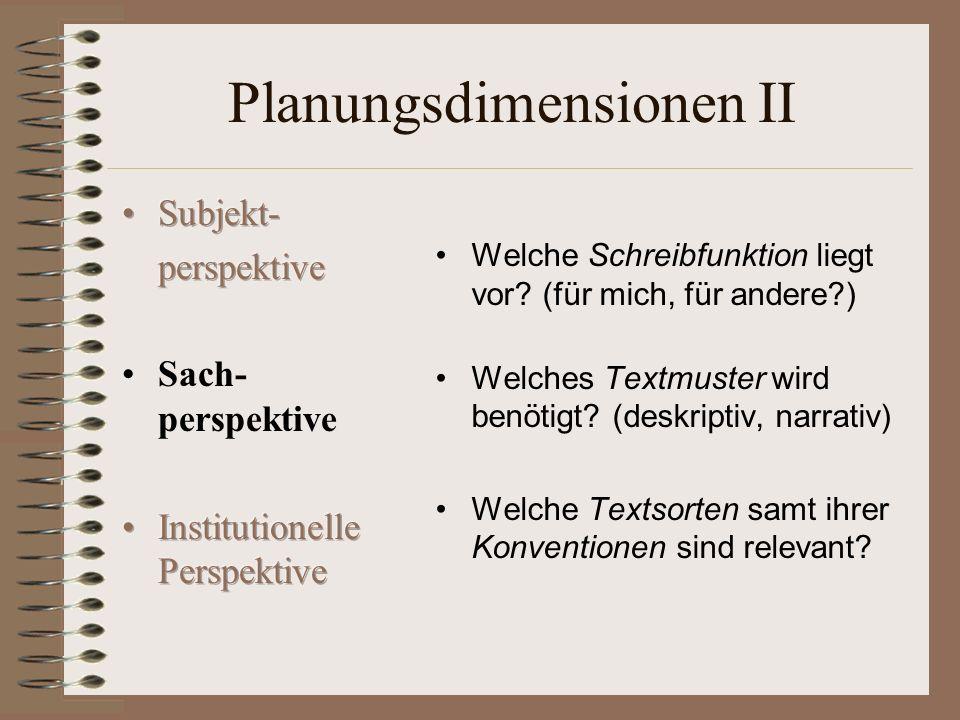 Planungsdimensionen II