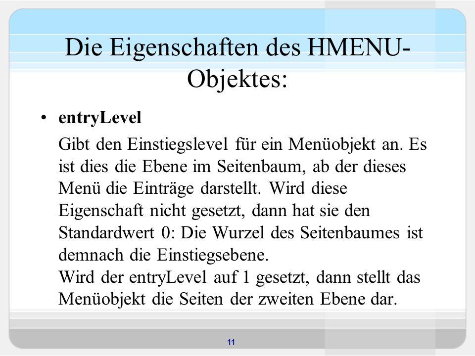 Die Eigenschaften des HMENU-Objektes: