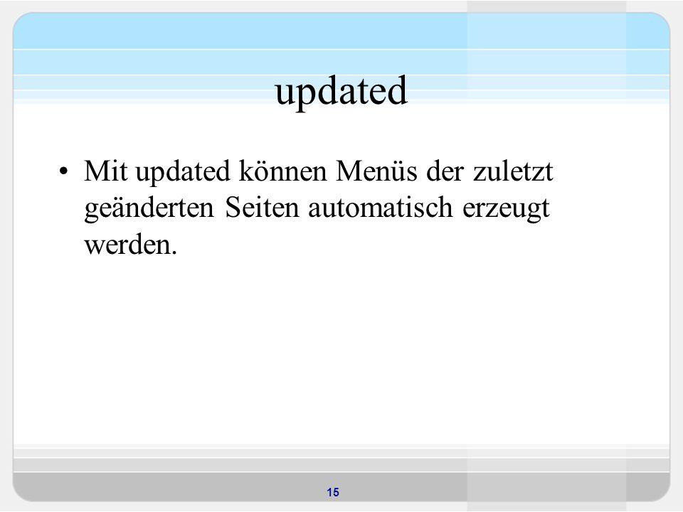 updated Mit updated können Menüs der zuletzt geänderten Seiten automatisch erzeugt werden.