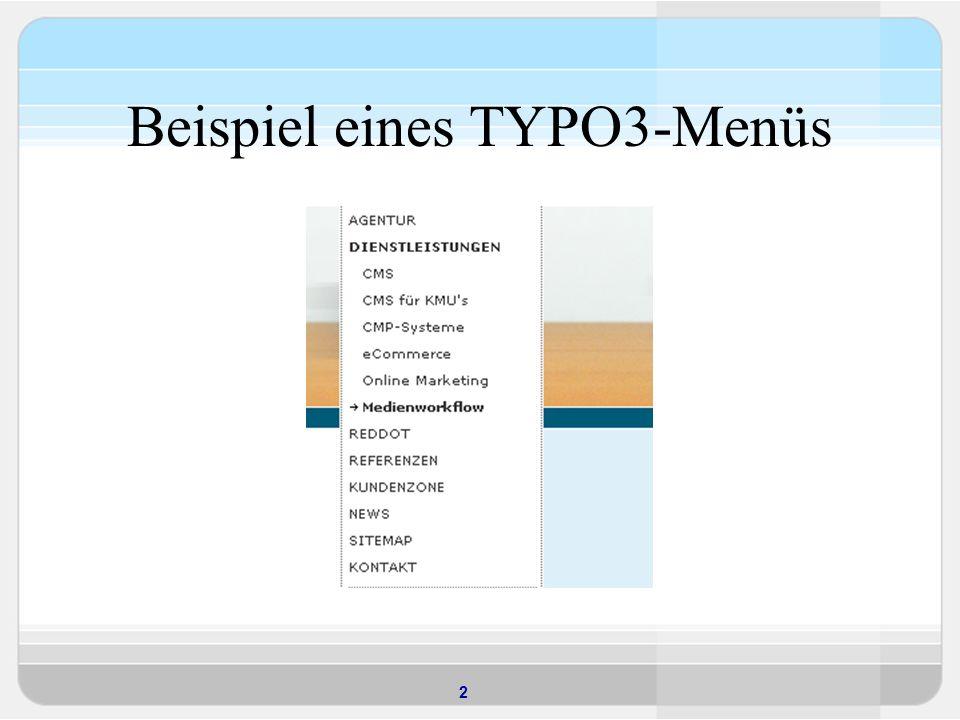 Beispiel eines TYPO3-Menüs