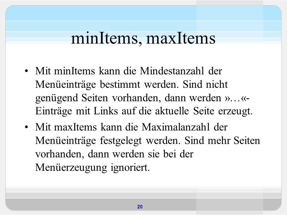 minItems, maxItems