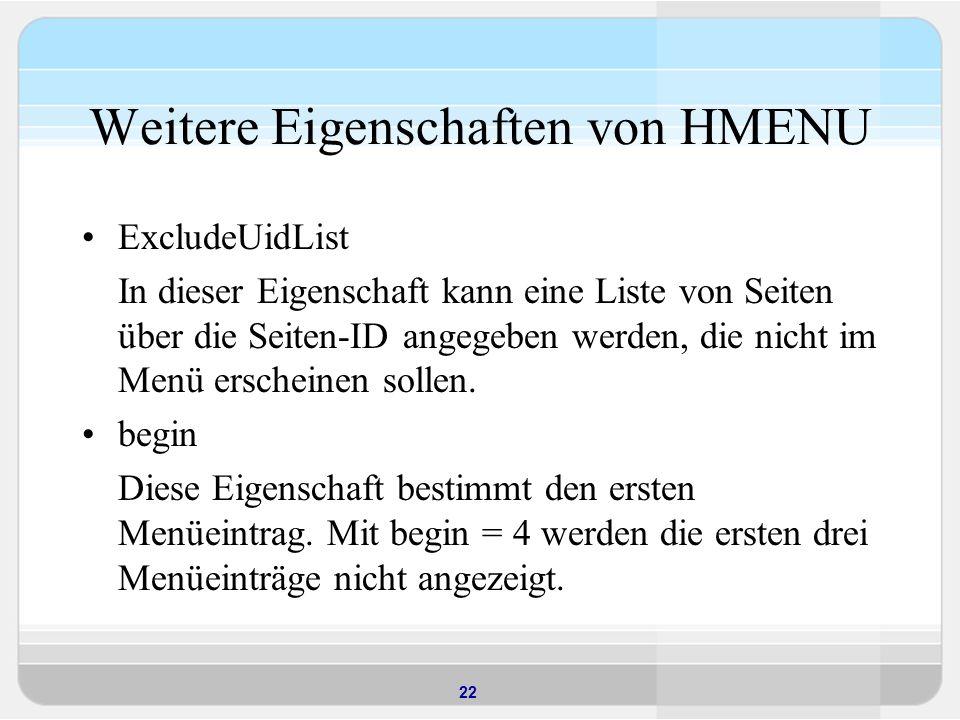 Weitere Eigenschaften von HMENU