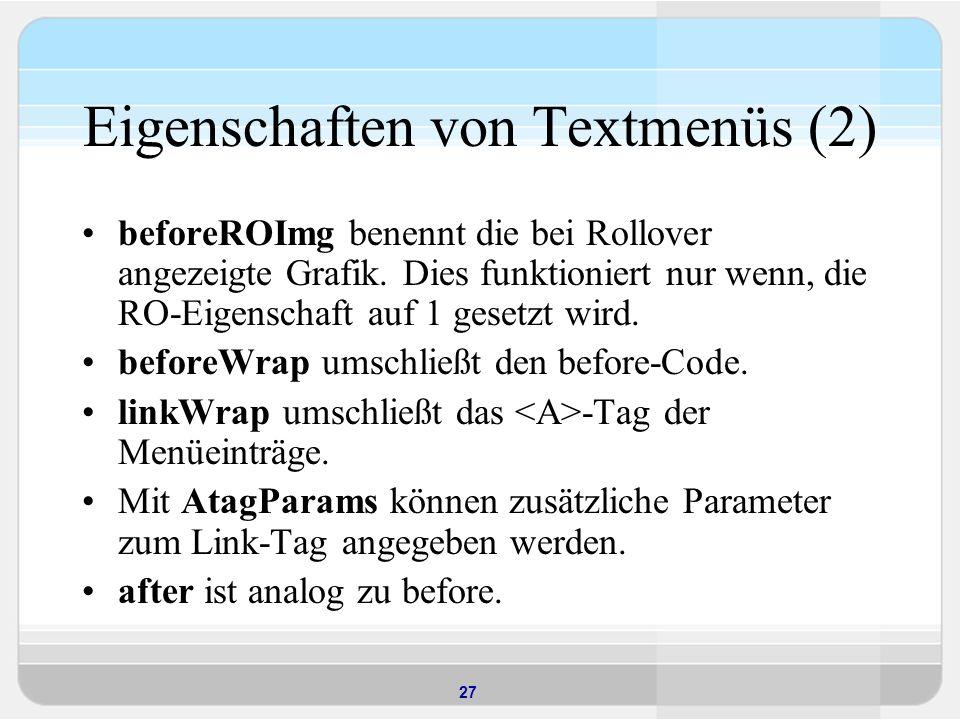 Eigenschaften von Textmenüs (2)
