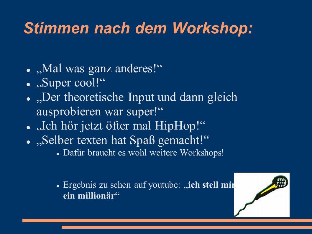 Stimmen nach dem Workshop: