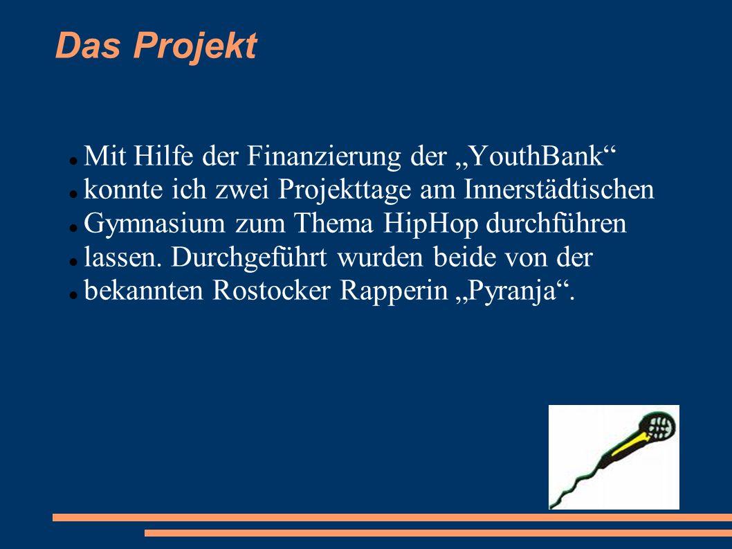 """Das Projekt Mit Hilfe der Finanzierung der """"YouthBank"""