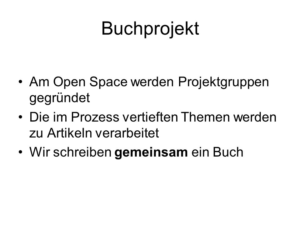 Buchprojekt Am Open Space werden Projektgruppen gegründet