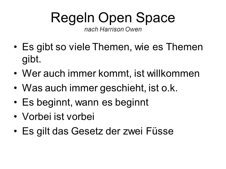 Regeln Open Space nach Harrison Owen