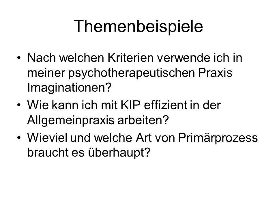 Themenbeispiele Nach welchen Kriterien verwende ich in meiner psychotherapeutischen Praxis Imaginationen