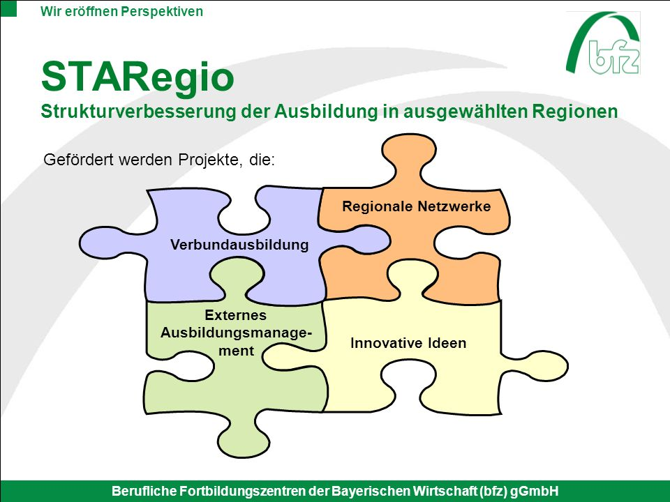 STARegio Strukturverbesserung der Ausbildung in ausgewählten Regionen