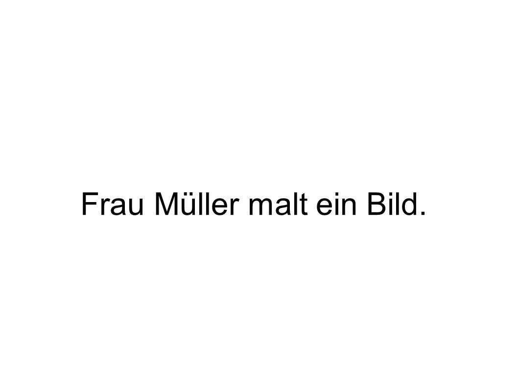 Frau Müller malt ein Bild.