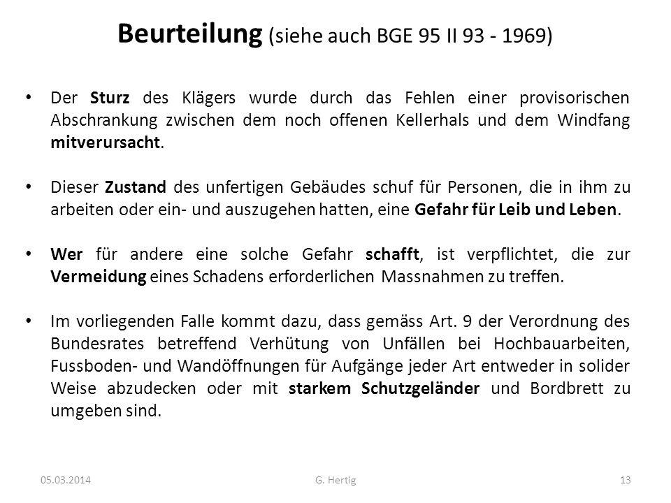 Beurteilung (siehe auch BGE 95 II 93 - 1969)