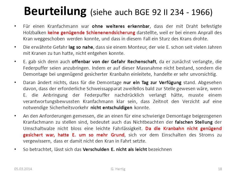 Beurteilung (siehe auch BGE 92 II 234 - 1966)