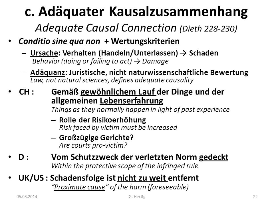 c. Adäquater Kausalzusammenhang Adequate Causal Connection (Dieth 228-230)
