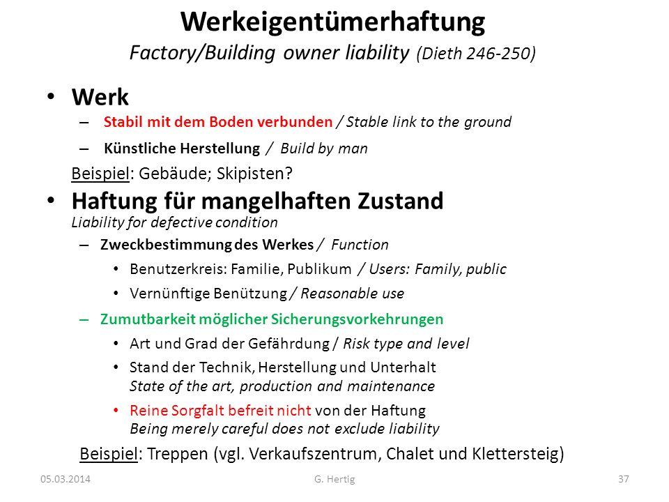 Werkeigentümerhaftung Factory/Building owner liability (Dieth 246-250)
