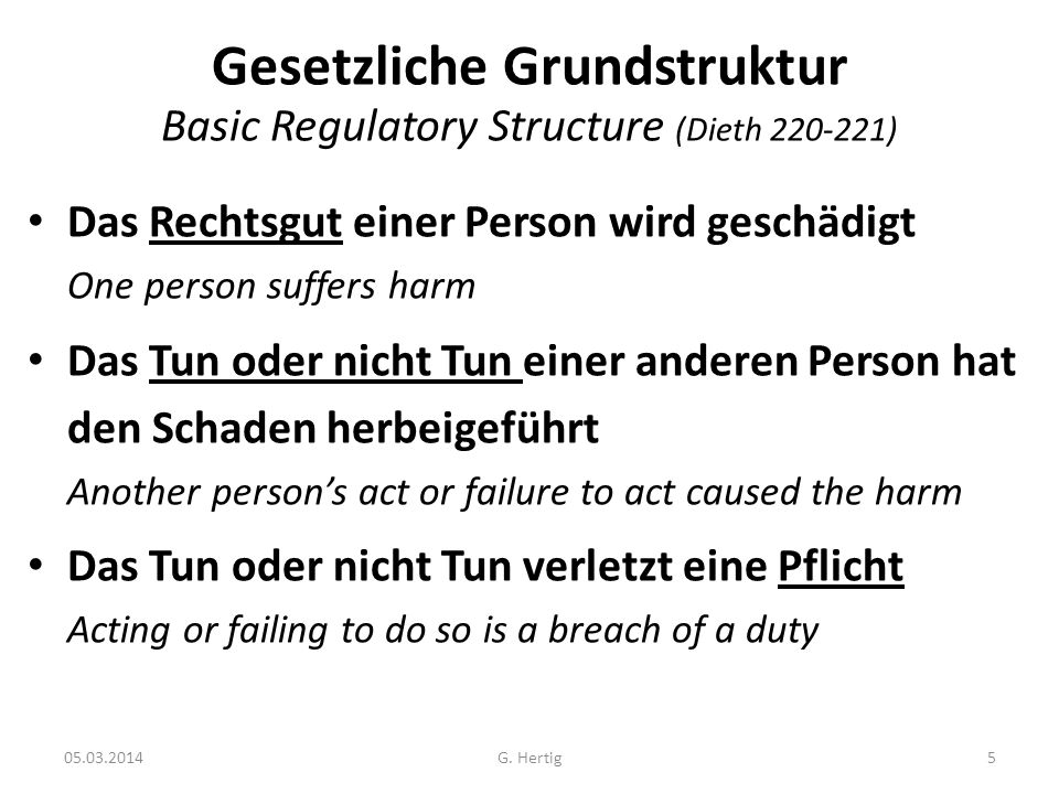 Gesetzliche Grundstruktur Basic Regulatory Structure (Dieth 220-221)