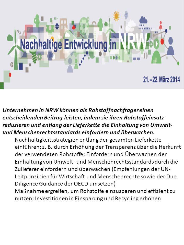 Unternehmen in NRW können als Rohstoffnachfrager einen entscheidenden Beitrag leisten, indem sie ihren Rohstoffeinsatz reduzieren und entlang der Lieferkette die Einhaltung von Umwelt- und Menschenrechtsstandards einfordern und überwachen.