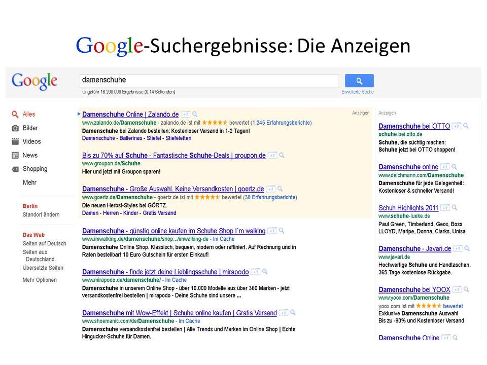 Google-Suchergebnisse: Die Anzeigen