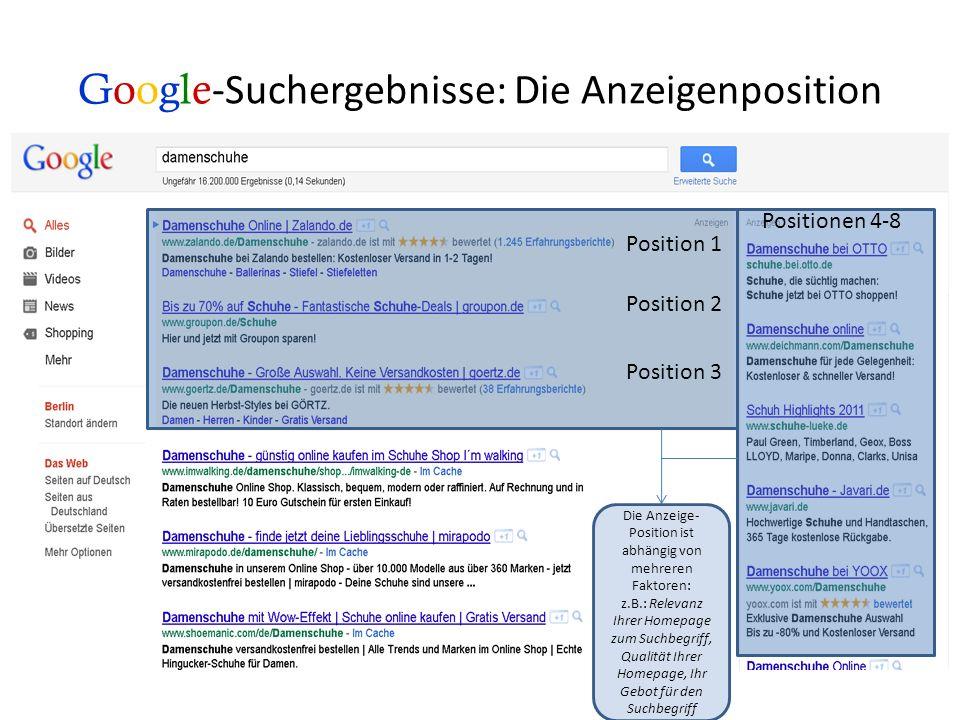 Google-Suchergebnisse: Die Anzeigenposition