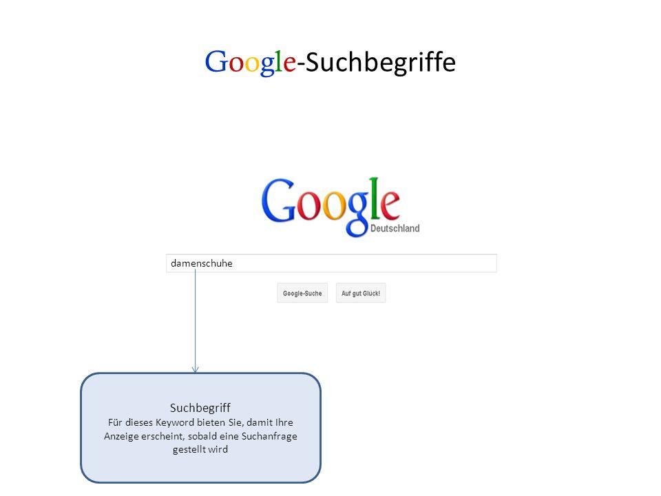 Google-Suchbegriffe Suchbegriff damenschuhe