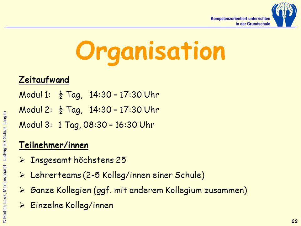 Organisation Zeitaufwand Modul 1: ½ Tag, 14:30 – 17:30 Uhr