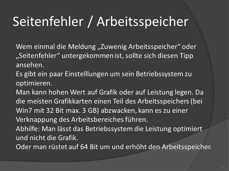 Seitenfehler / Arbeitsspeicher