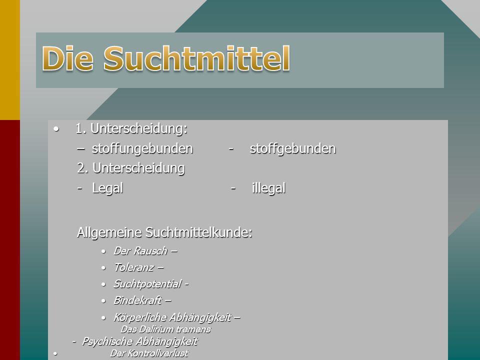 Die Suchtmittel 1. Unterscheidung: stoffungebunden - stoffgebunden