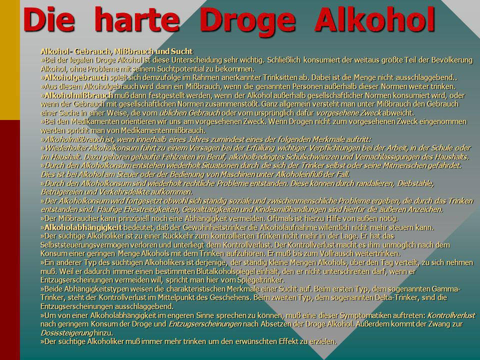 Die harte Droge Alkohol