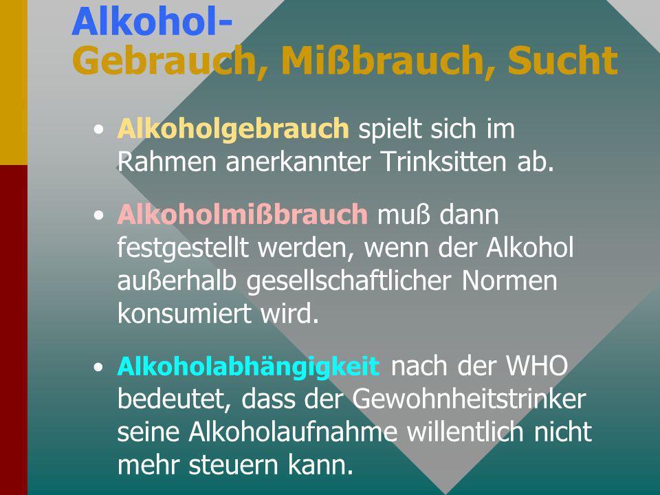 Alkohol- Gebrauch, Mißbrauch, Sucht