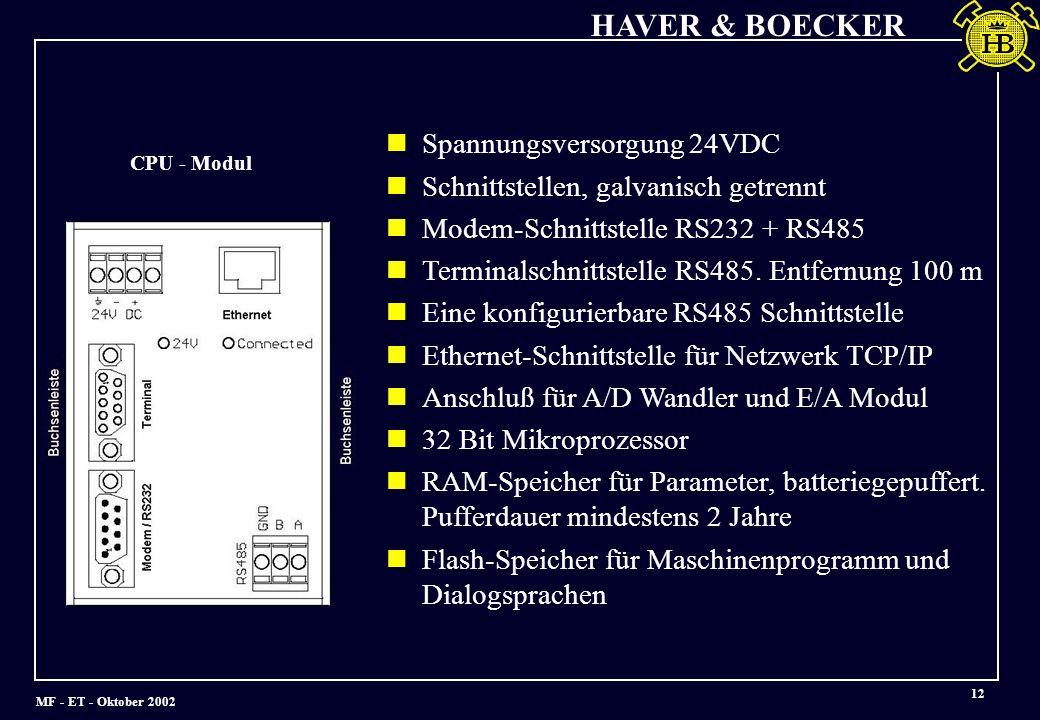 Spannungsversorgung 24VDC Schnittstellen, galvanisch getrennt
