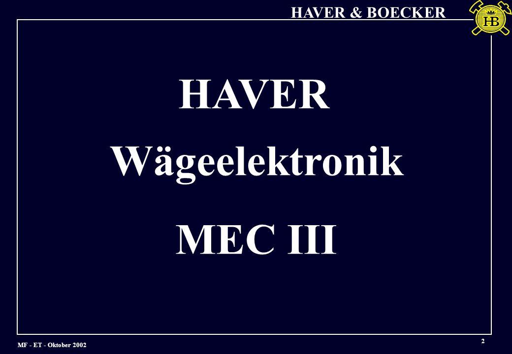 HA VER Wägeelektronik MEC III