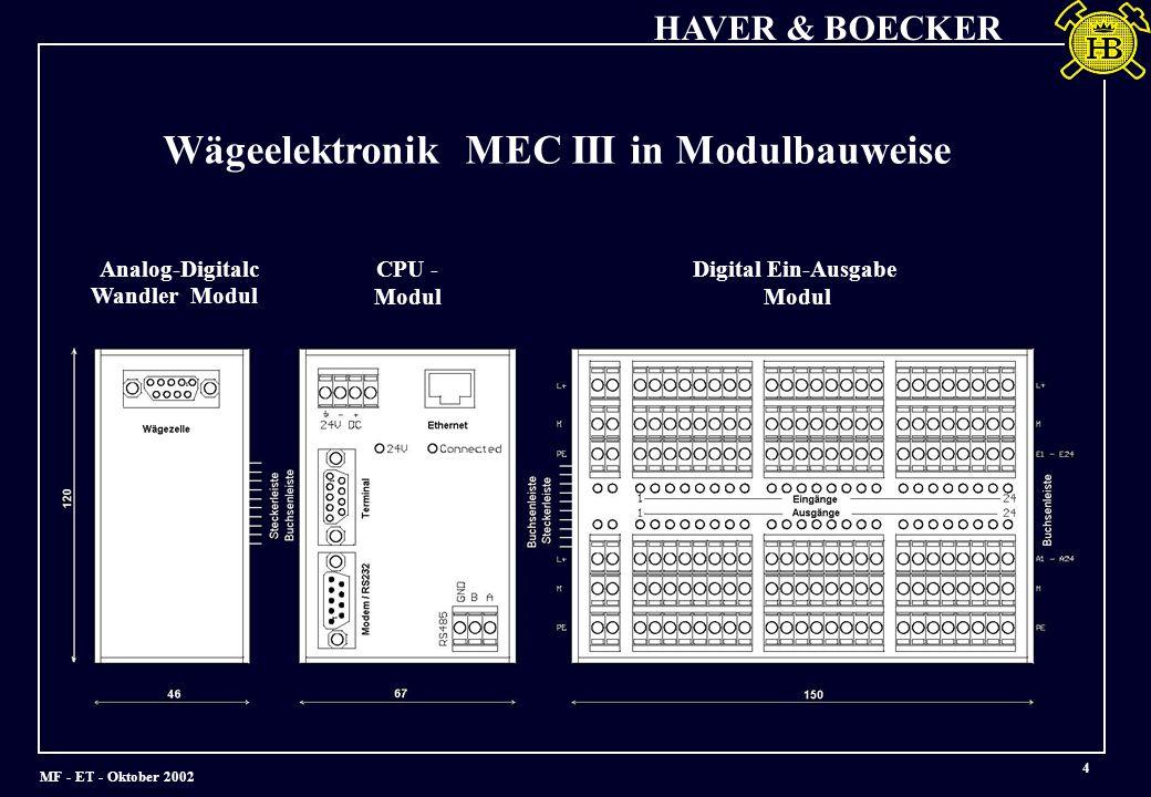 Wägeelektronik MEC III in Modulbauweise