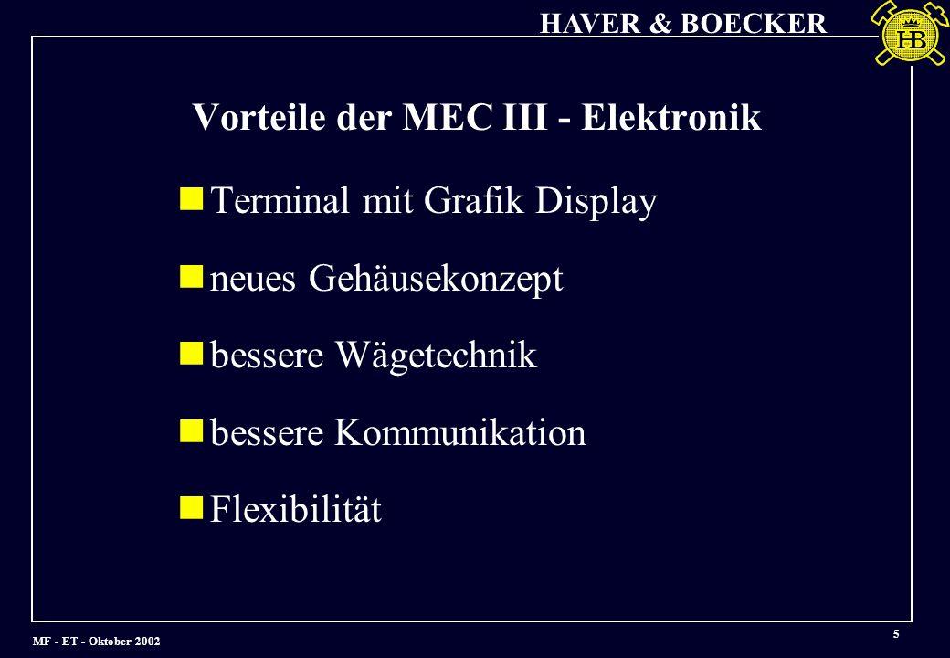 Vorteile der MEC III - Elektronik