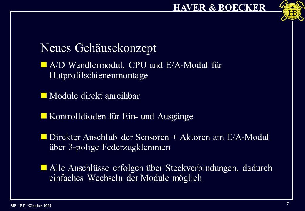 Neues Gehäusekonzept A/D Wandlermodul, CPU und E/A-Modul für Hutprofilschienenmontage. Module direkt anreihbar.