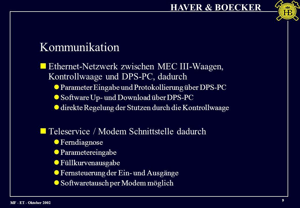Kommunikation Ethernet-Netzwerk zwischen MEC III-Waagen, Kontrollwaage und DPS-PC, dadurch. Parameter Eingabe und Protokollierung über DPS-PC.