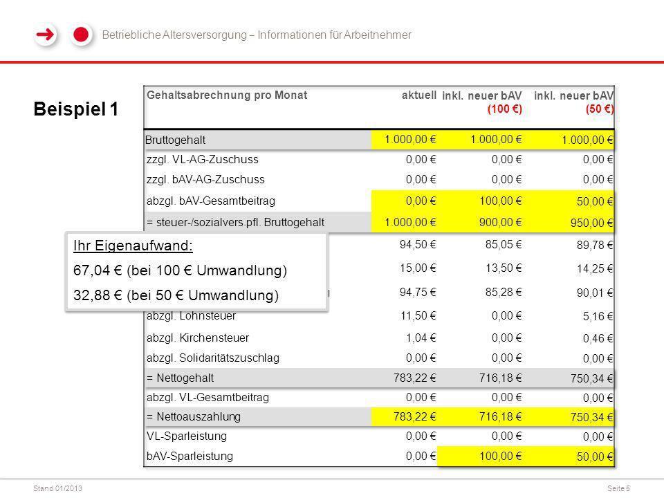 Beispiel 1 Ihr Eigenaufwand: 67,04 € (bei 100 € Umwandlung)
