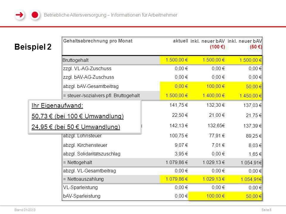 Beispiel 2 Ihr Eigenaufwand: 50,73 € (bei 100 € Umwandlung)