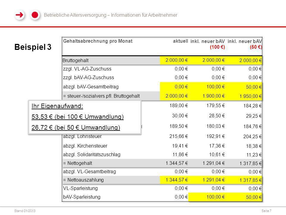 Beispiel 3 Ihr Eigenaufwand: 53,53 € (bei 100 € Umwandlung)