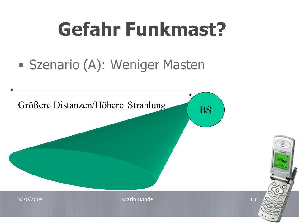 Gefahr Funkmast Szenario (A): Weniger Masten BS